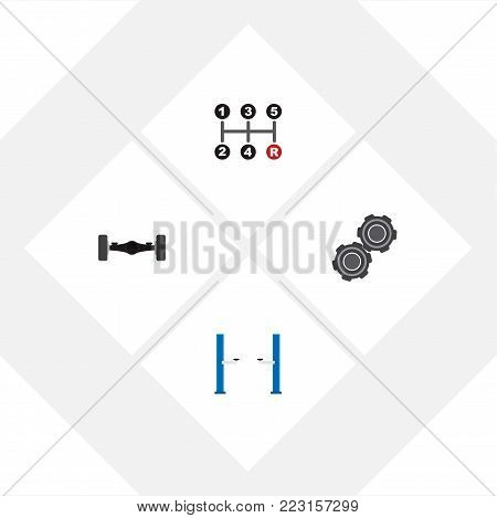 Icon flat workshop set of manual transmission, automobile axis, pulley and other  objects. Also includes car, axis, jack elements.