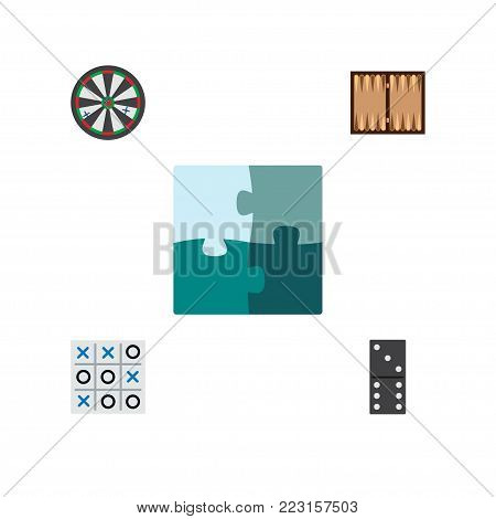 Icon flat entertainment set of backgammon, darts, tic-tac-toe and other  objects. Also includes game, jigsaw, tic elements.
