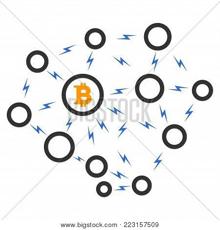 Bitcoin Lightning Network flat vector icon. An isolated icon on a white background.