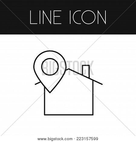 Isolated location icon line. Pinpoint  element can be used for location, pin, house design concept.