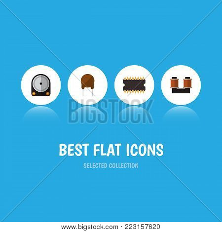 Icon flat device set of hard drive, spool, cpu and other  objects. Also includes drive, processor, copper elements.