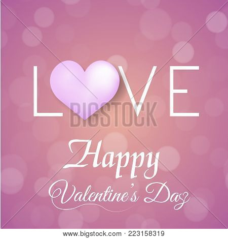 Valentine's greeting card with defocused dots pink balloon and pink hearts. Vector.
