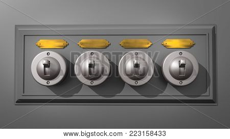 A 3D illustration of a row of 4 old-fashioned light switches on a backboard and with a blank, brass name plates above each switch