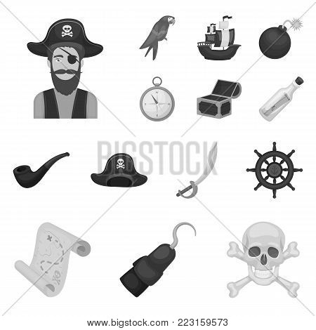 Pirate, sea robber monochrome icons in set collection for design. Treasures, attributes vector symbol stock  illustration.