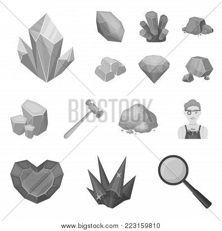 Precious Minerals monochrome icons in set collection for design. Jeweler and Equipment vector symbol stock  illustration.