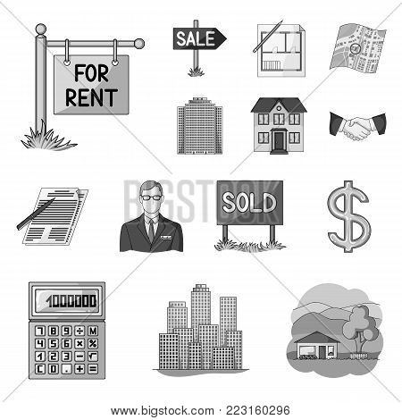 Realtor, agency monochrome icons in set collection for design. Buying and selling real estate vector symbol stock  illustration.