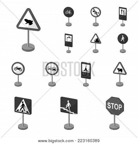 Different types of road signs monochrome icons in set collection for design. Warning and prohibition signs vector symbol stock  illustration.