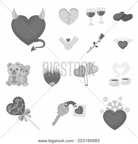 Romantic relationship monochrome icons in set collection for design. Love and friendship vector symbol stock  illustration.