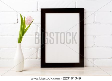 Black Brown  Frame Mockup With Soft Pink Tulip In Vase