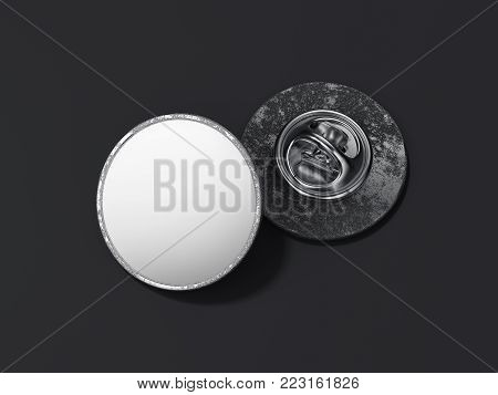Round lapel pin with black blank face isolated on dark background. 3d rendering