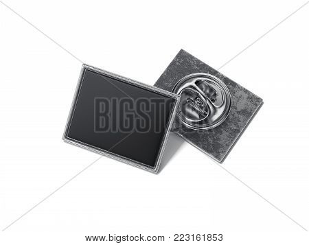 Square lapel pin with black blank face isolated on bright background. 3d rendering