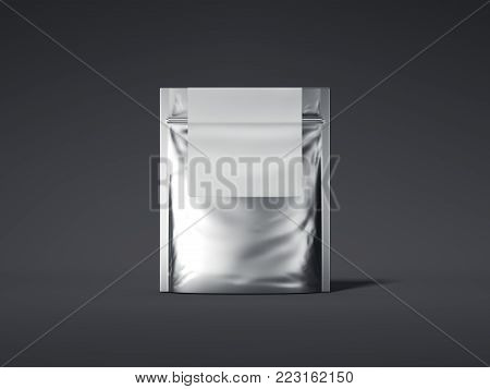 Silver zipper bag with blank label isolated on dark background. 3d rendering