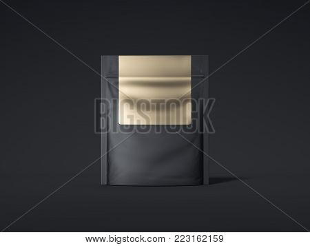 Black zipper bag with golden label isolated on dark background. 3d rendering