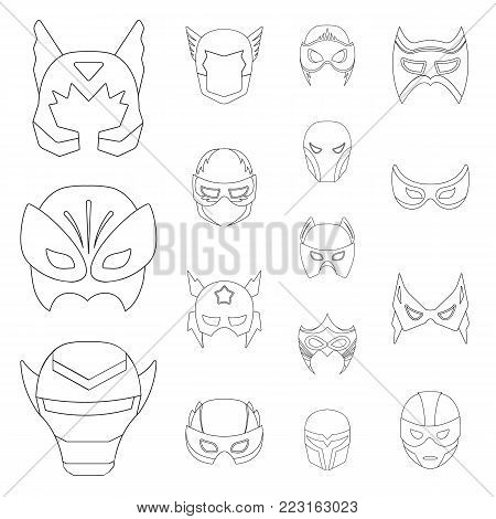Carnival mask outline icons in set collection for design.Mask on the eyes and face vector symbol stock  illustration.
