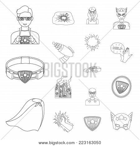 A fantastic superhero outline icons in set collection for design. Superhero's equipment vector symbol stock  illustration.