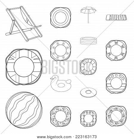 Multicolored swimming circle outline icons in set collection for design. Different lifebuoys vector symbol stock illustration.