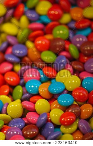 Shinny candies with out of focus background