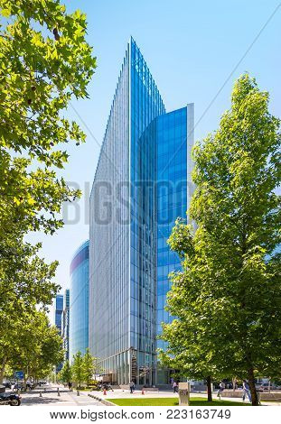 SANTIAGO, CHILE - NOVEMBER 11, 2016: The glass skyscraper of Barrio Nueva Las Condes. This is a new commercial and business center.