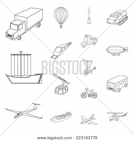 Different types of transport outline icons in set collection for design. Car and ship vector symbol stock  illustration.
