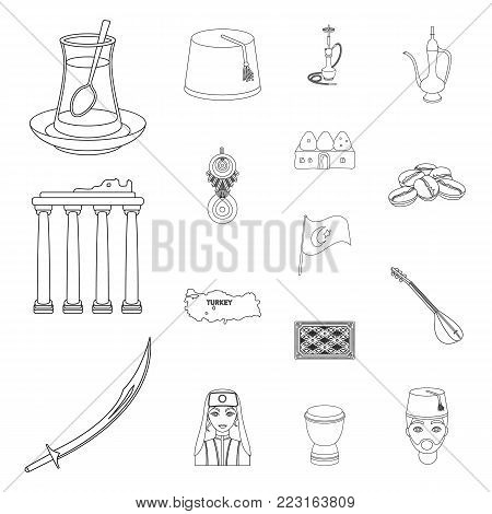 Turkey country outline icons in set collection for design.Travel and attractions vector symbol stock  illustration.