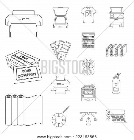 Typographical products outline icons in set collection for design. Printing and equipment vector symbol stock  illustration.