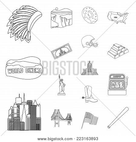 USA country outline icons in set collection for design.Travel and attractions vector symbol stock  illustration.