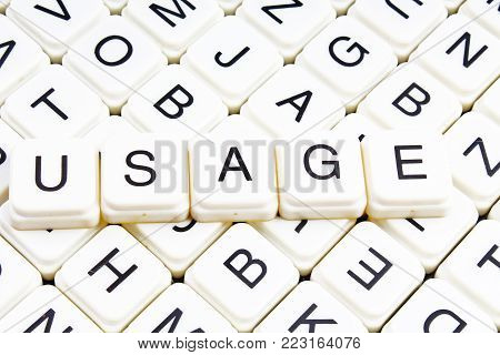 Usage text word crossword title caption label cover background. Alphabet letter toy blocks. White alphabetical letters. Usage.