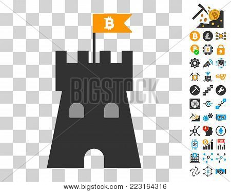 Bitcoin Bulwark Tower pictograph with bonus bitcoin mining and blockchain clip art. Vector illustration style is flat iconic symbols. Designed for crypto-currency ui toolbars.