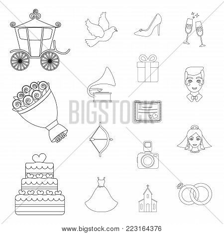 Wedding and Attributes outline icons in set collection for design.Newlyweds and Accessories vector symbol stock  illustration.