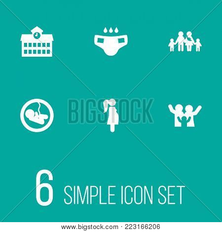 Set of 6 relatives icons set. Collection of large family, school, pregnant woman and other elements.