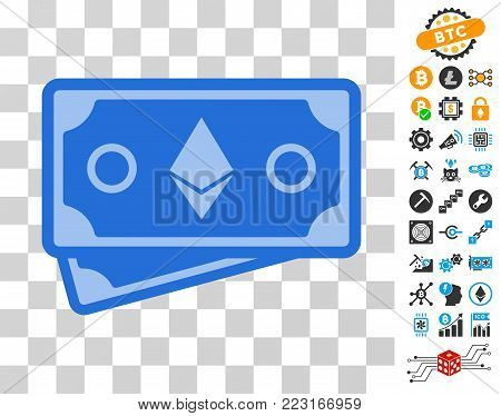 Ethereum Crystal Banknotes pictograph with bonus bitcoin mining and blockchain pictographs. Vector illustration style is flat iconic symbols. Designed for crypto currency websites.