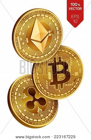 Bitcoin. Ripple. Ethereum. 3D isometric Physical coins. Digital currency. Cryptocurrency. Golden coins with bitcoin, ripple and ethereum symbol on white background. Vector illustration