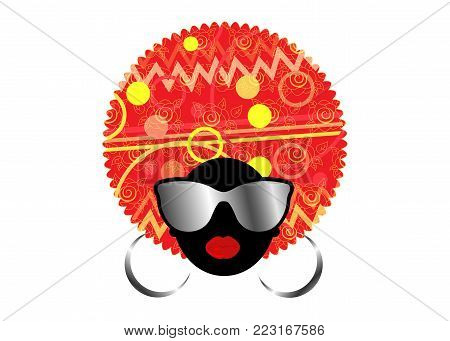 portrait African Women , dark skin female face with hair afro and metal glasses in traditional ethnic turban on isolated background , hairstyle concept or company name