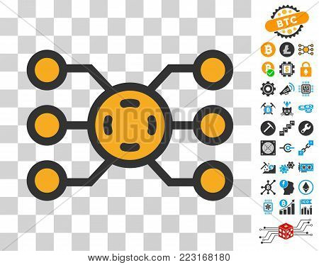 Network Peers pictograph with bonus bitcoin mining and blockchain design elements. Vector illustration style is flat iconic symbols. Designed for crypto currency websites.
