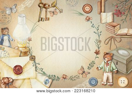 Vintage round frame with cute bears, books, letters, flowers, keys, casket, lamp, butterflies and buttons. Watercolor  hand drawn illustration