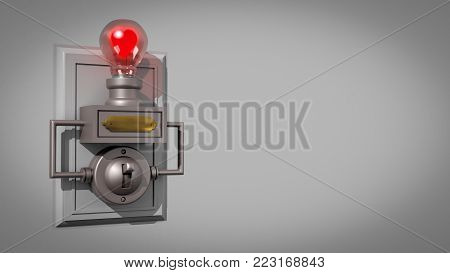 A 3D illustration of an old-fashioned light switch on a backboard and a light bulb containing a Valentine's Day heart as the filament - as viewed from the left - with a space to the right for adding a message
