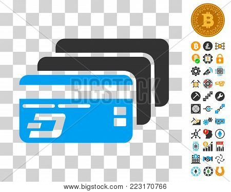 Dash Bank Cards pictograph with bonus bitcoin mining and blockchain images. Vector illustration style is flat iconic symbols. Designed for cryptocurrency apps.