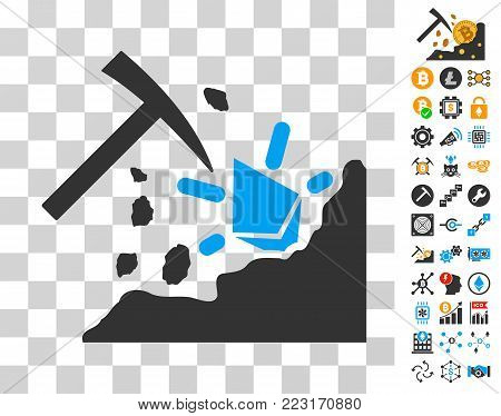 Ethereum Mining Hammer icon with bonus bitcoin mining and blockchain pictures. Vector illustration style is flat iconic symbols. Designed for crypto currency websites.