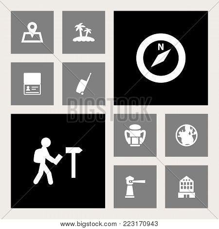 Set of 10 relax icons set. Collection of seamark, traveler, citizenship and other elements.