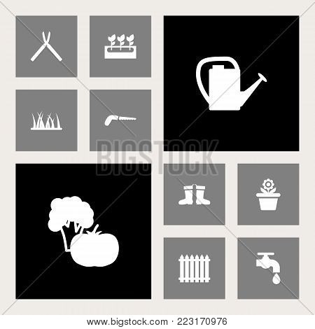 Set of 10 farm icons set. Collection of hacksaw, scissors, faucet and other elements.