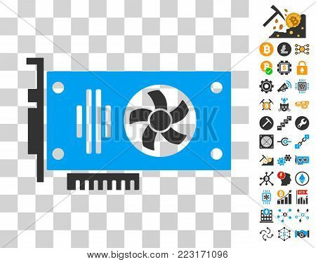 Videocard icon with bonus bitcoin mining and blockchain icons. Vector illustration style is flat iconic symbols. Designed for blockchain websites.