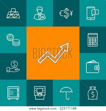 Set of 13 finance icons line style set. Collection of grow up, protect, atm and other elements.