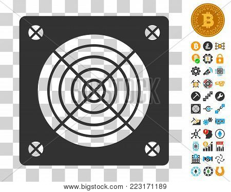 Asic Miner Hardware pictograph with bonus bitcoin mining and blockchain pictographs. Vector illustration style is flat iconic symbols. Designed for crypto-currency ui toolbars.