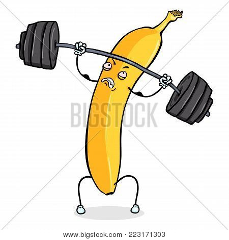 Vector Cartoon Character - Yellow Banana Lifting Heavy Weight Barbell