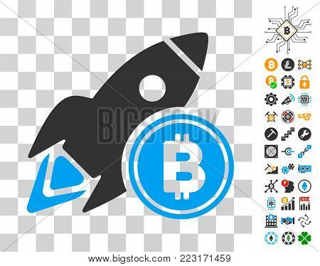 Bitcoin Rocket icon with bonus bitcoin mining and blockchain symbols. Vector illustration style is flat iconic symbols. Designed for blockchain software.