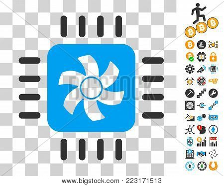 Cpu Cooler icon with bonus bitcoin mining and blockchain clip art. Vector illustration style is flat iconic symbols. Designed for crypto currency apps.