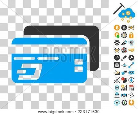 Dash Bank Cards pictograph with bonus bitcoin mining and blockchain pictographs. Vector illustration style is flat iconic symbols. Designed for blockchain websites.