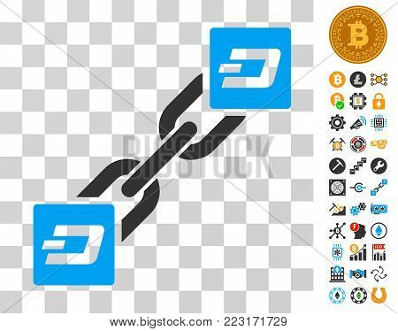 Dash Blockchain icon with bonus bitcoin mining and blockchain symbols. Vector illustration style is flat iconic symbols. Designed for crypto currency software.