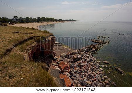 Ruined fortification on Baltic sea coast near Baltiysk (Pilau)