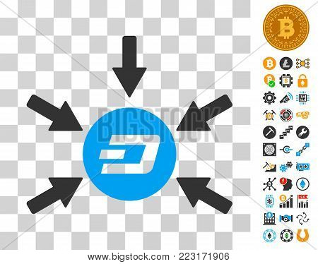 Dash Coin Income Arrows icon with bonus bitcoin mining and blockchain design elements. Vector illustration style is flat iconic symbols. Designed for crypto currency apps.